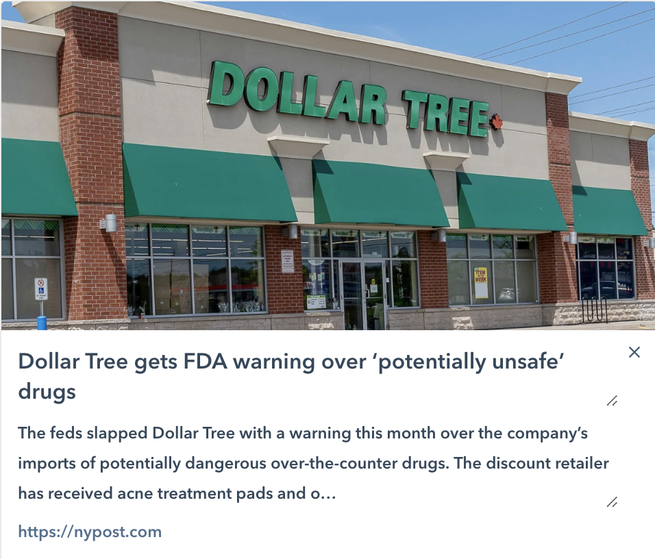"Dollar tree with FDA warning of ""potentially unsafe "" drugs"